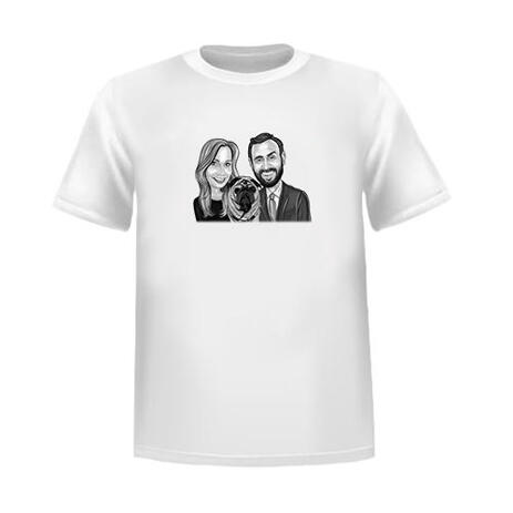 Couple with Pet Cartoon Drawing in Black and White Style as Custom T-Shirt Gift - example