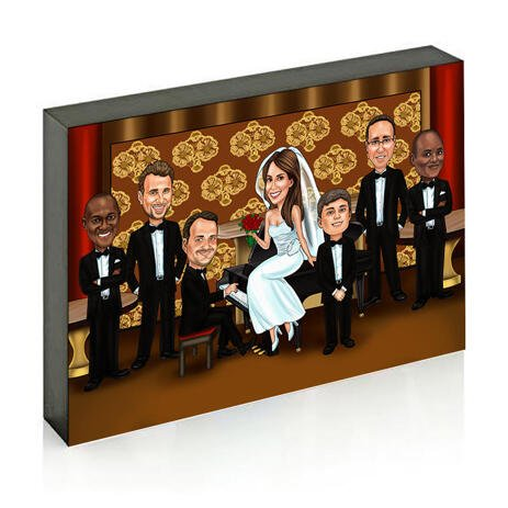 Wedding Couple with Guests on Photo Block Caricature - example