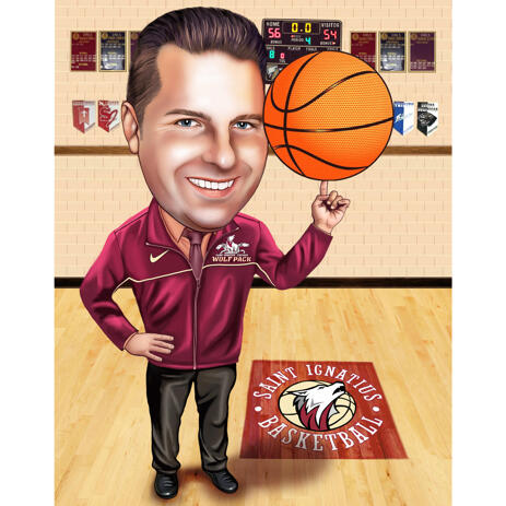 Coach Caricature from Photos: Custom Basketball Coach Gift - example