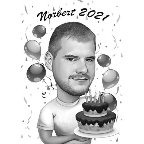 Man with Cake Birthday Caricature Gift in Monochrome Style from Photos - example