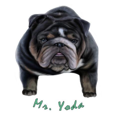 Карикатура бульдога в цветном стиле - example