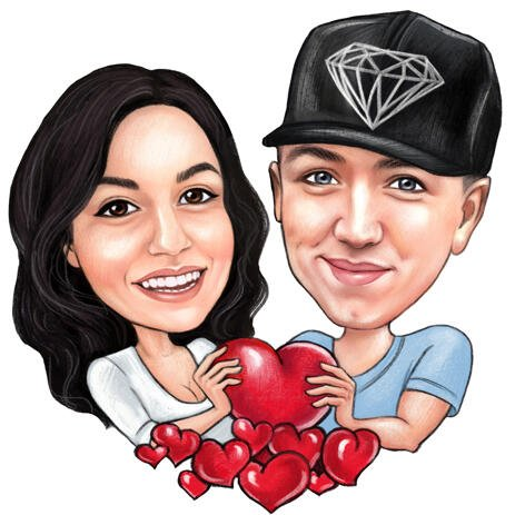 Couple Caricature Holding Heart for Valentines Day Card - example