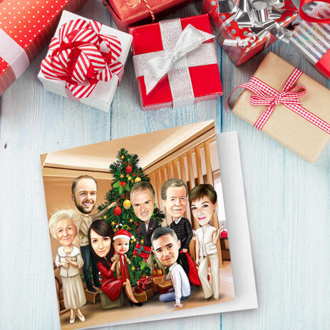 Custom Christmas Family Portrait in Set of 10 Caricature Cards from Photos - example