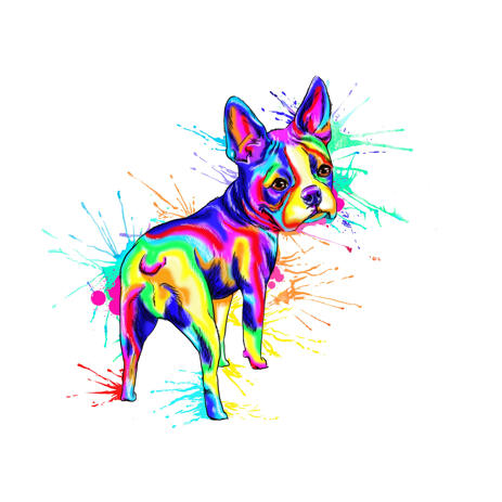 Full Body Rainbow Watercolor French Bulldog Portrait from Photos - example