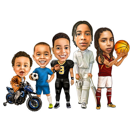 Kids Group Mixed Sport Interests Cartoon Caricature Hand Drawn in Full Body Colored Style - example