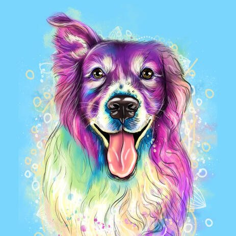 Watercolour Dog Drawing: Custom Pet Portrait on Blue Background - example