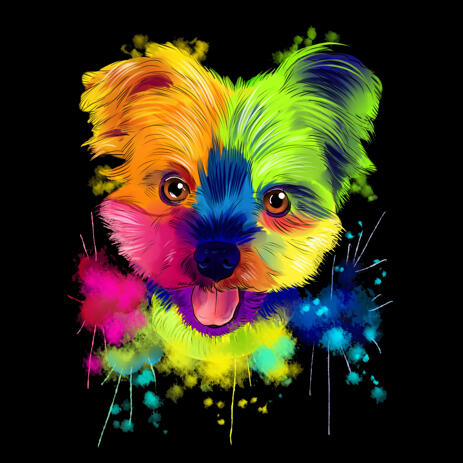 Bright Colorful Yorkie Portrait Drawing in Watercolor Style on Black Background - example
