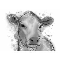 Portrait de vache à partir de photos dans un style aquarelle en niveaux de gris
