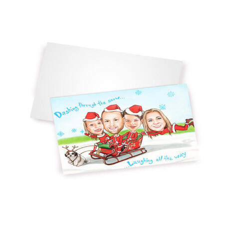 Funny Family in Santa Sleigh as Set of 10 Christmas Caricature Cards Gift in Color Style from Photos - example