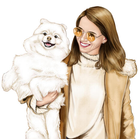 Dog with Owner Portrait Painting from Photos - example