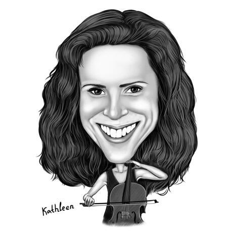 Person mit Cello-Porträt-Zeichnungs-Karikatur von Fotos im Schwarzweiss-Stil für musikalische Leute - example