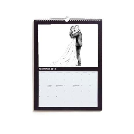 Just Married Caricature Printed as Calendar - example