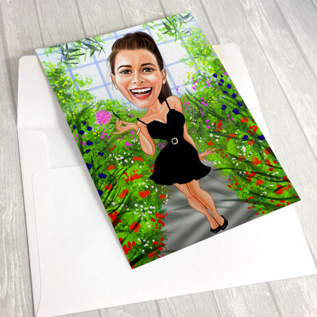 Full Body Colored Caricature Print on Poster - example