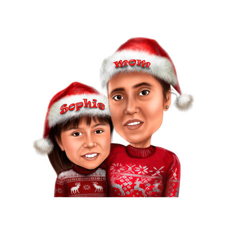 Parent with Child in Christmas Hats Colored Caricature from Photos - example