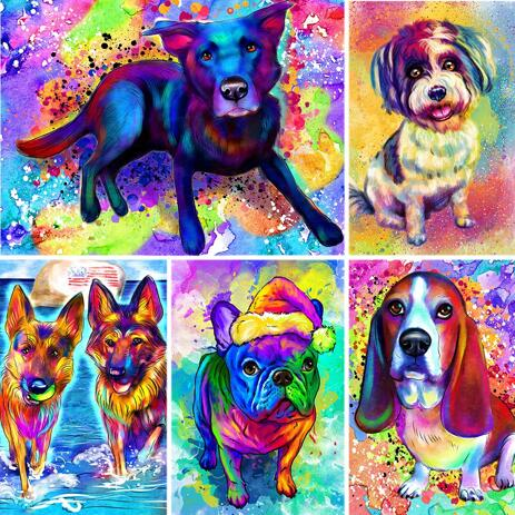 Rainbow Full Body Dog Portrait with Colored Background - example