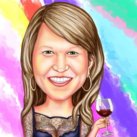 Custom Colored Caricature with Wine Glass - example