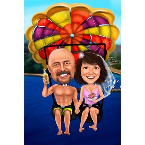 Funny Couple Parachute Caricature Drawing for Custom Wedding Anniversary Gift - example