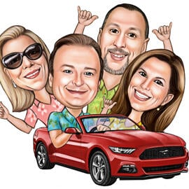 Family with Car or other Vehicle - Colored Caricature in Pencils