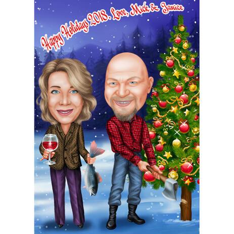 Новогодняя карикатура пары с индивидуальным фоном с поздравительной надписью - example