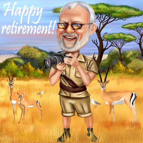 Funny Personalised Retirement Caricature from Photo for Retirement Gift - example