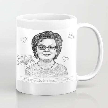 Photo Print on Mug: Personalized Portrait Drawing in Pencils Style - example