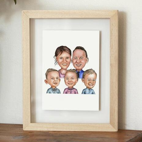 Family Portrait Caricature Print on Poster - example