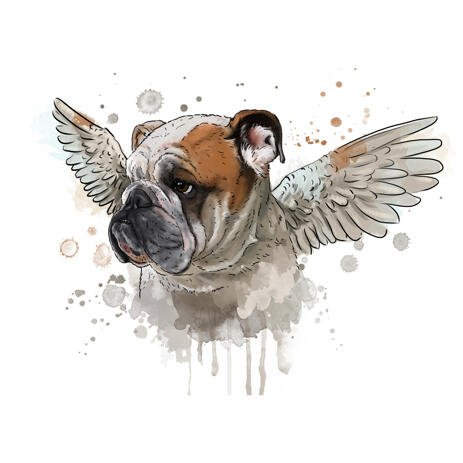 Dog Memorial Portrait in Natural Watercolors with Angel Wings - example