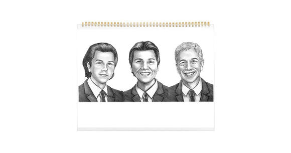 Caricature for Business Owners on Calendar