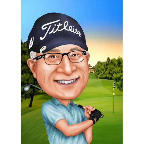 Golfer-Porträt von Fotos: Kopf und Schultern, farbiger Stil - example
