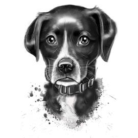 Grayscale Watercolor Style Portrait of Your Pet
