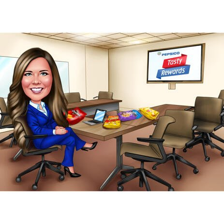 Business Career Woman Caricature from Photos in Color Digital Style with Custom Background - example