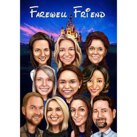 Custom Coworkers Team Caricature in Color Style from Photos for Farewell Gift - example