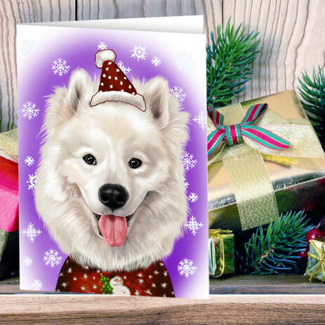Christmas Dog Cartoon Caricature from Photo as Set of 10 Greeting Cards - example
