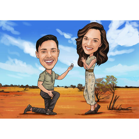 Proposal Engagement Couple Caricature from Photos - example