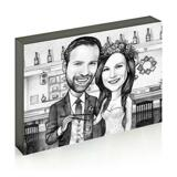 Bride and Groom Caricature on Photo Block