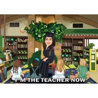 Teacher Graduation Colored Caricature Gift with Custom Background