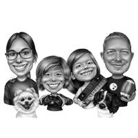 Family Caricature with Different Hobbies in Black and White Style