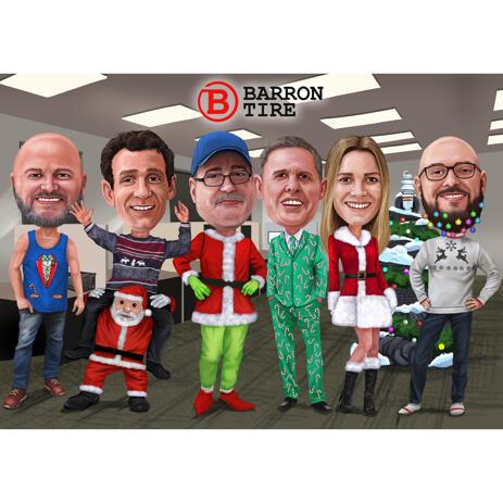 Новогодняя карикатура сотрудников офиса нарисованная с фотографий для рождественской открытки - example