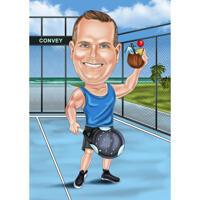 Paddel-Tennisspieler-Karikatur mit benutzerdefiniertem Hintergrund von Foto