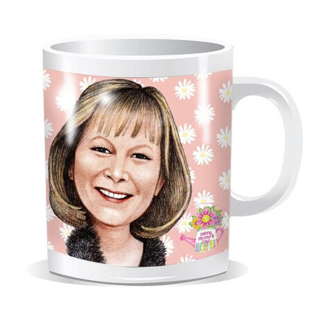 Personalized Mug: Custom Portrait Drawing of Woman in Colored Pencils Style - example