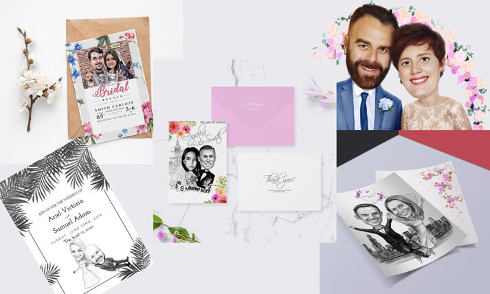 Wedding Caricature Invitations large example