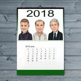 Corporate Group Caricature on Calendar
