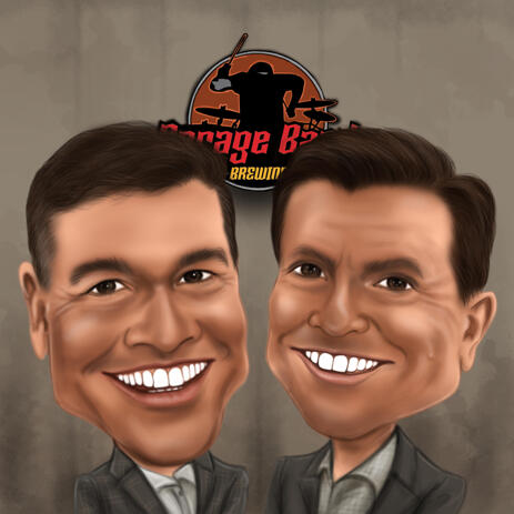 Two Persons Business Caricature Cartoon with Logo Design Background - example