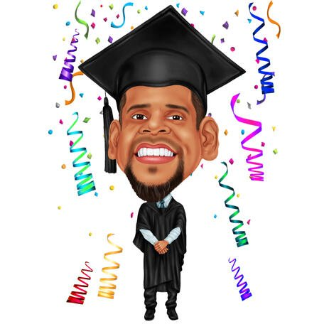 Graduation Caricature from Photos: Full Body, Colored Style - example
