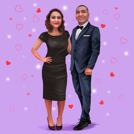 Couple Portrait in Full Body Colored Style with One Color Background - example