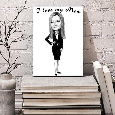 Individueller Druck auf Leinwand: Ganzkörper-Frau, Zeichnung mit schwarzen und weißen Bleistift-Stil - example