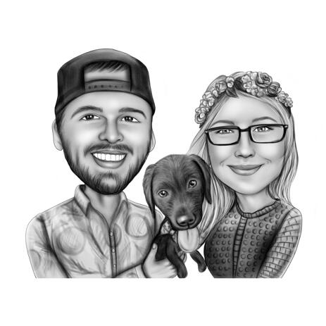 Couple with Labrador Pup Caricature Portrait in Black and White Style from Photos - example