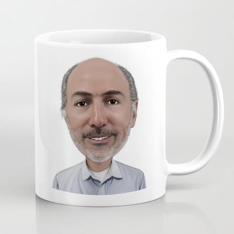Hand Drawn Dad Caricature Cartoon from Photo for Father's Day Mug Gift - example