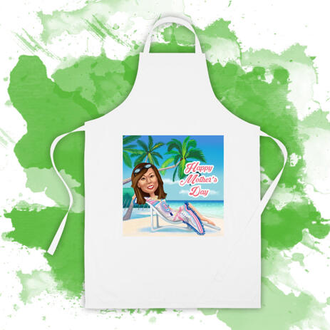 Personalized Kitchen Apron: Custom Woman Cartoon Drawing in Colored Digital Style - example