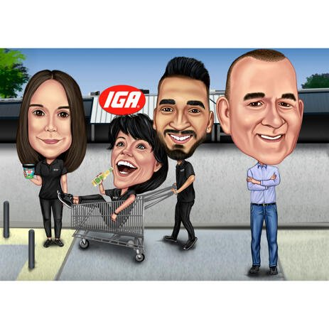 Funny Group Employees Cartoon Caricature in High Exaggerated Style for Boss Gift - example